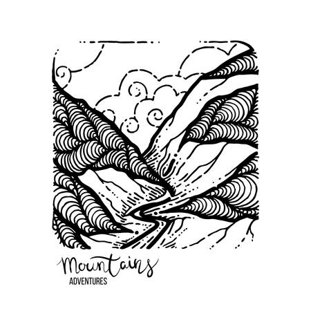 Mountain Adventures. Vector grunge hand drawn landscape. Sketch lined illustration