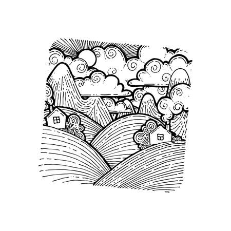 House in the fields. Vector grunge hand drawn landscape. Sketch lined illustration