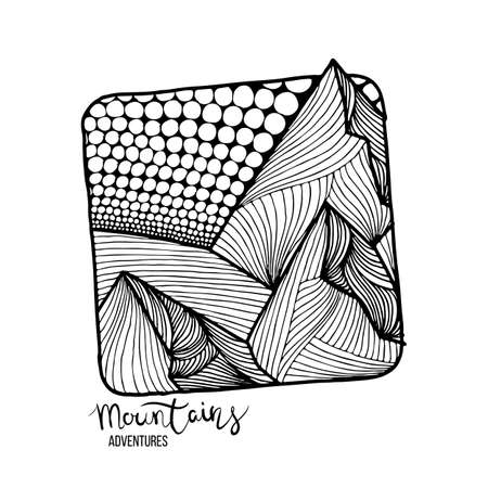 Mountain Adventures. Vector grunge hand drawn landscape. Sketch lined illustration