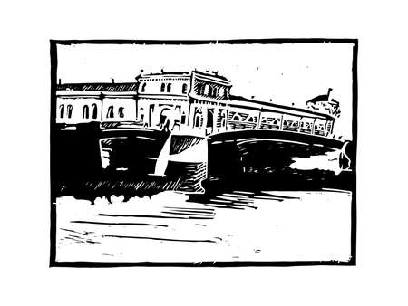 Ancient northern city with canals. Travel sketch. Vintage hand drawn ink postcard template. Vector illustration