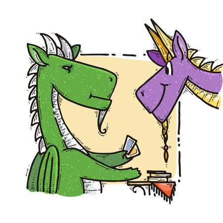 Two dragons fool around with tarot cards. Fairytale cute monster. Vector illustration Ilustração