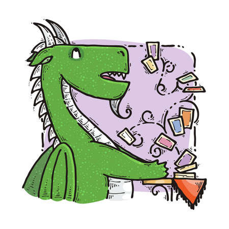Dragon sitting and guesses on tarot cards. Fairytale cute monster. Vector illustration