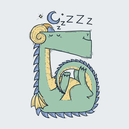 Cute cartoon sleepy dragon at night, doodle childish vector illustration. Illusztráció