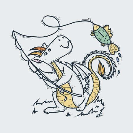 Cute cartoon dragon with fish, doodle fishing childish vector illustration.