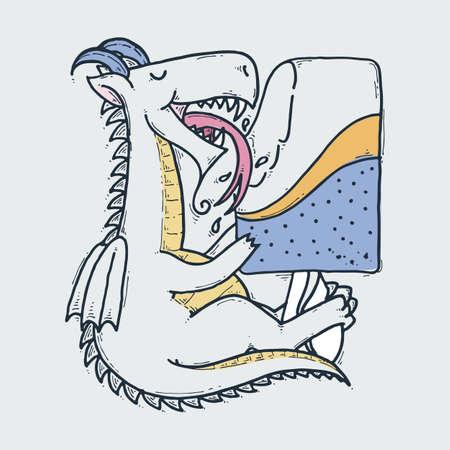 Cute cartoon dragon with taste ice-cream, doodle childish vector illustration.