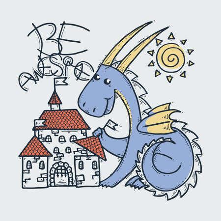 Be Awesome. Cute cartoon dragon with toy castle, doodle childish vector illustration. Illusztráció
