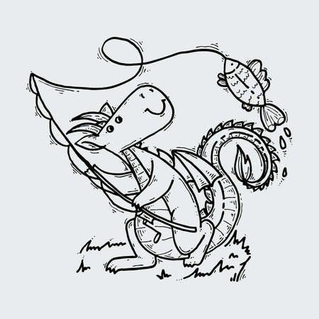 Cute cartoon dragon with fish, doodle fishing childish illustration.