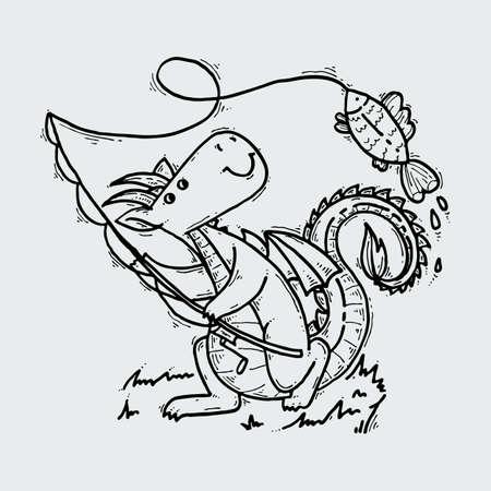 Niedlicher Cartoon-Drache mit Fisch, kindische Illustration des Gekritzelfischens.