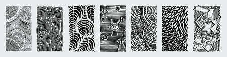 Hand drawn grunge textures. Artistic collection of rough graphic patterns, ethnic abstract lines, tribal ink symbols.