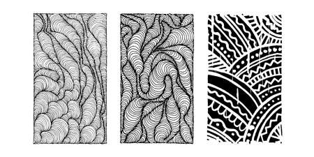 Set of hand drawn grunge textures. Artistic collection of rough graphic patterns, ethnic abstract lines, tribal ink symbols.
