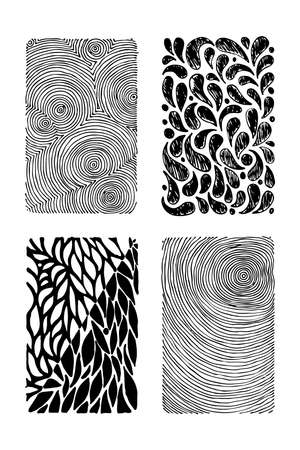 Set of hand drawn grunge textures. Artistic collection of rough graphic patterns, ethnic abstract lines, tribal ink symbols. Ilustração Vetorial