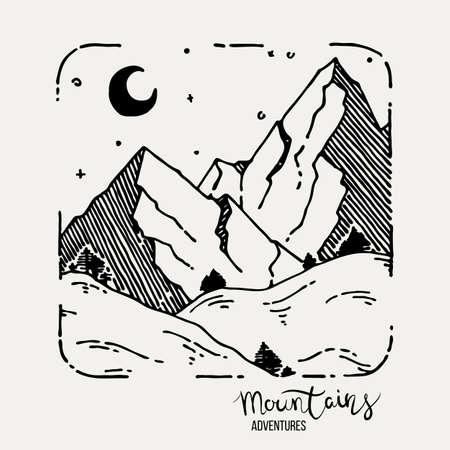 Mountain Adventures grunge hand drawn landscape. Sketch lined illustration  イラスト・ベクター素材