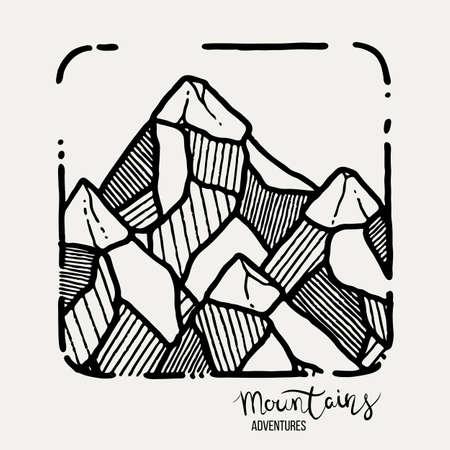 Mountain Adventures grunge hand drawn landscape. Sketch lined illustration Ilustração