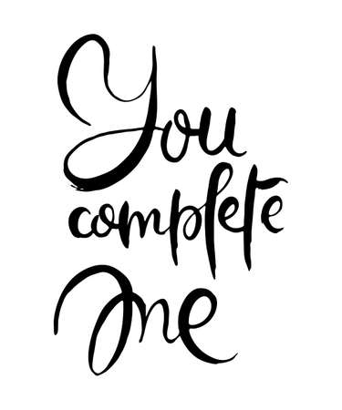 You Complete Me. Hand lettering grunge card with textured handcrafted doodle letters in retro style. Hand-drawn vintage vector typography illustration Banque d'images - 138325389