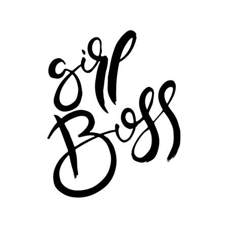 Girl Boss. Hand lettering grunge card with textured handcrafted doodle letters in retro style. Hand-drawn vintage vector typography illustration