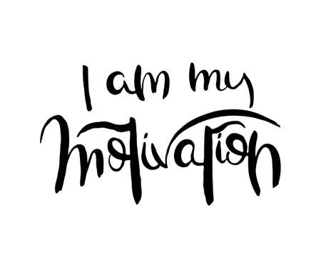 I am my motivation. Grunge lettering isolated artwork. Typography stamp for t-shirt graphics, print, poster, banner, flyer, tags, postcard. Vector image