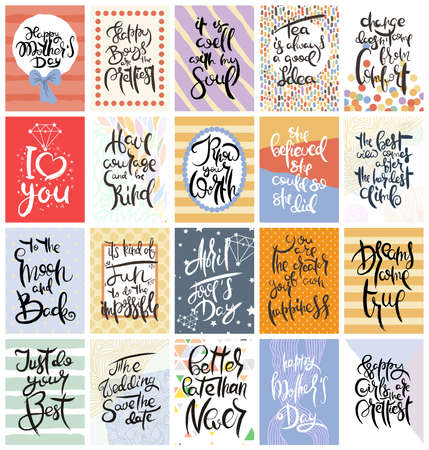 Hand drawn calligraphic card set. Vector illustration. Collection of flyers, brochures, templates. Design of scandinavian cards with lettering, patterns and ornaments.