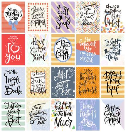 Jeu de cartes calligraphiques dessinées à la main. Illustration vectorielle. Collection de dépliants, brochures, modèles. Conception de cartes scandinaves avec lettrage, motifs et ornements.