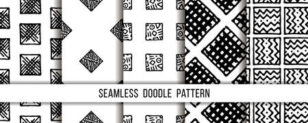 Set of seamless grunge doodle modern patterns. Geometry square fabric samples. Abstract vector illustrations