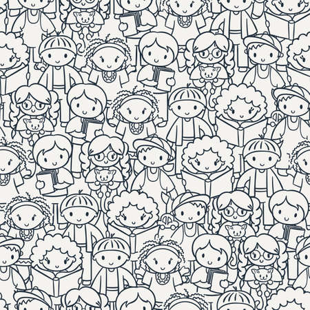 Doodel seamless pattern with group of children, teens, girls, boys with different hairstyles and toys. Vector graphic hand drawn coloring illustration