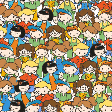 Doodel seamless pattern with group of children, teens, girls, boys with different hairstyles and toys. Vector graphic hand drawn illustration