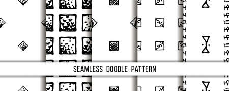 Set of seamless grunge doodle modern patterns. Geometry square fabric samples.