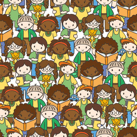 Doodel seamless pattern with group of children, teens, girls, boys with different hairstyles and toys.