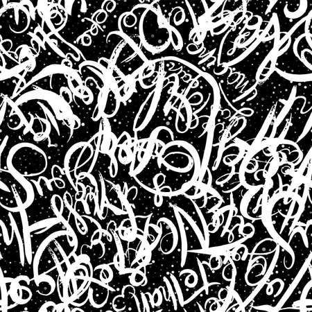 Graffiti background seamless pattern. Hand style tagging. Chalk vector lettering on the asphalt