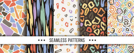 Set of Abstract Seamless Pattern. Collection of elegant patterns for all occasions. Vector illustrations