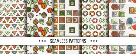 Cute collection of doodle hipster seamless patterns. Ornament set for your design, wallpaper, background, fabric textile. Vector illustrations