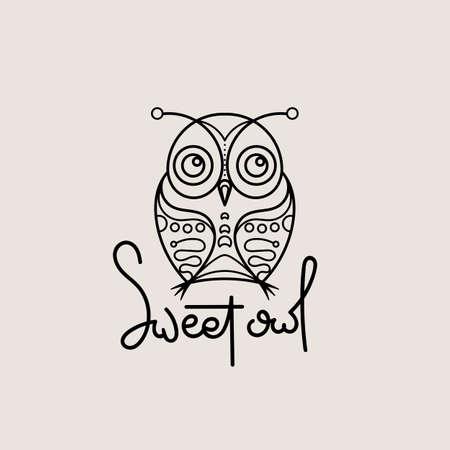 Sweet owl outline logo. Doodel isolated emblem design. Kids education symbol. Vector illustration 矢量图像