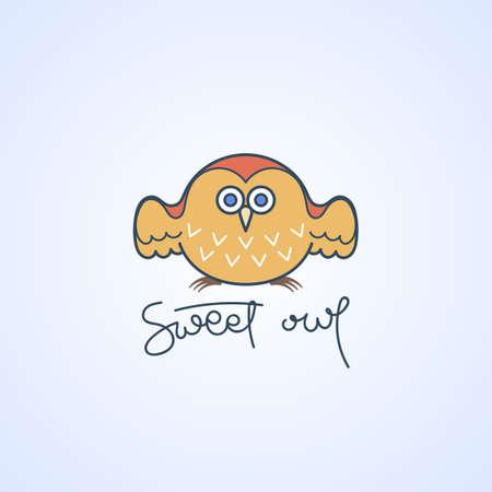 Sweet owl logo. Doodel isolated emblem design. Kids education symbol. Vector illustration