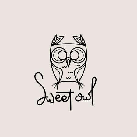 Sweet owl outline logo. Doodel isolated emblem design. Kids education symbol. Vector illustration Stock Illustratie