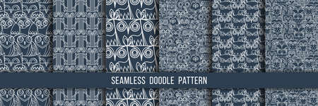 Set of seamless doodle owl patterns. Cute print collection for kids, scrap and other. Vector endless illustrations