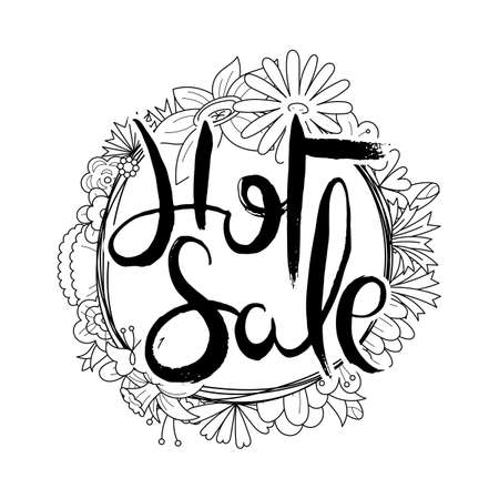 Hot Sale. Hand lettering grunge card with flower background. Handcrafted doodle letters in retro style. Hand-drawn vintage vector typography illustration Ilustração