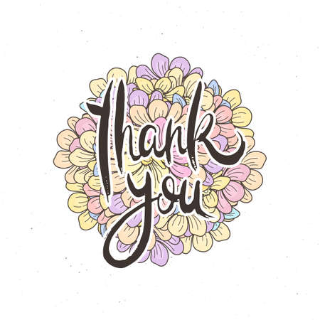 Thank you. Hand lettering grunge card with flower background. Handcrafted doodle letters in retro style. Hand-drawn vintage vector typography illustration