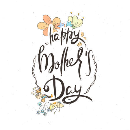 Happy Mothers Day. Hand lettering grunge card with flower background. Handcrafted doodle letters in retro style. Hand-drawn vintage vector typography illustration Ilustração