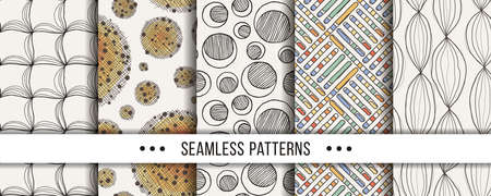 Set of seamless boho patterns with hand-drawn elements texture, abstraction illustration of black silhouette on white background. Vector collection