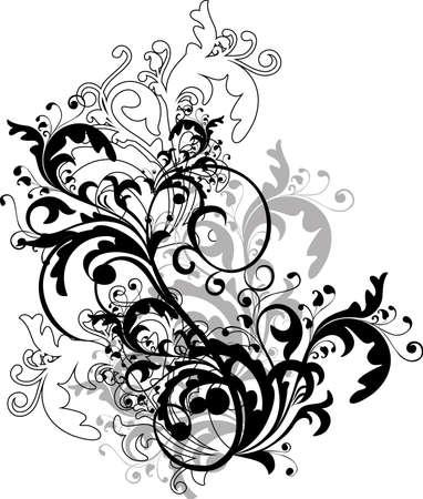 monocrom�tico: monochrome floral ornament - vector Ilustra��o