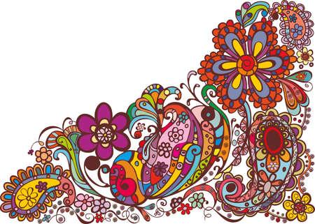 disegno cachemire: disegno floreale colorato Vettoriali