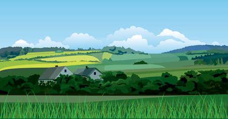 tillage: Paesaggio di campagna Vettoriali