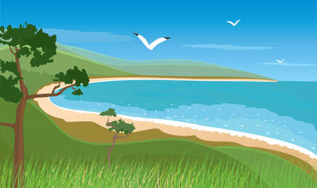tillage: Paesaggio marino Vettoriali