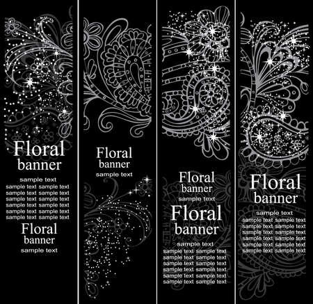 floral decoration: Four floral banners Illustration