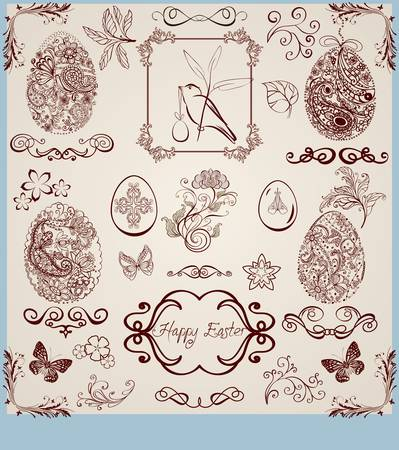 vintage stylized easter set Vector