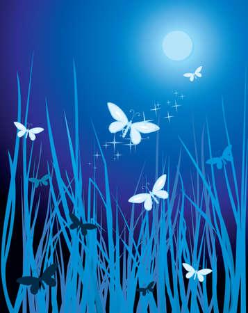 feelers: mariposas en la luz de la luna Vectores
