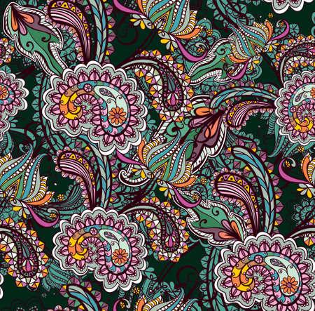 disegni cachemire: Seamless sfondo con ornamento paisley Vettoriali