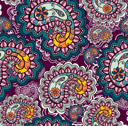 retro and vintage: Seamless background with  paisley ornament