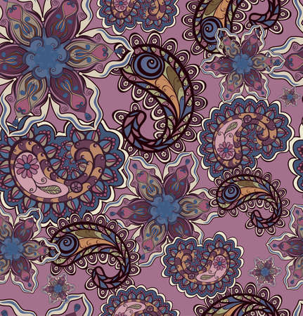 Seamless background with  paisley ornament Vector