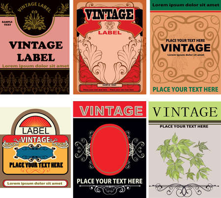 art product: set of vintage labels