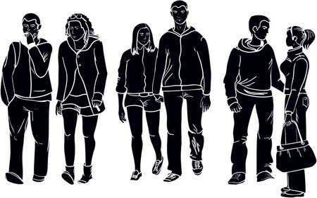 three couples silhouettes Vector